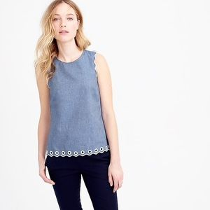 J Crew Chambray Scalloped Top With Grommets